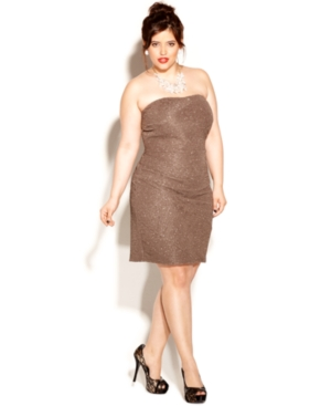 Love Squared Plus Size Dress, Strapless Metallic