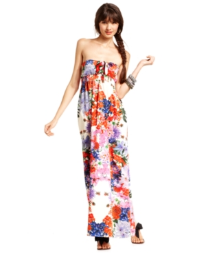 Urban Hearts Juniors Dress, Strapless Floral-Print Gown