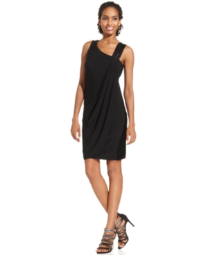 JS Boutique Dress, Sleeveless Draped Beaded Strap