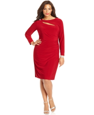 Betsy & Adam Plus Size Dress, Long-Sleeve Cutout Side-Ruched
