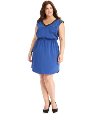 Love Squared Plus Size Dress, Sleeveless Faux-Leather-Trim