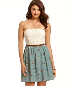 City Studios Juniors Dress, Strapless Belted Printed A-Line