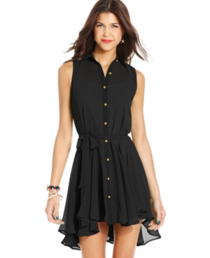 WishesWishesWishes Juniors Dress, Sleeveless Belted Chiffon Shirtdress