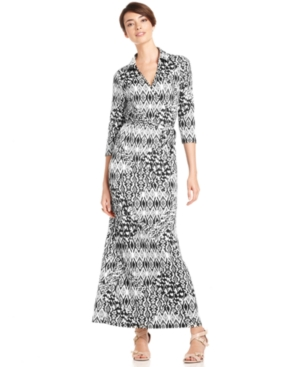 NY Collection Dress, Three-Quarter-Sleeve Printed Faux-Wrap Maxi