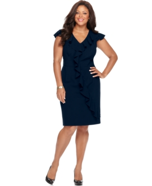 Spense Plus Size Dress, Cap Sleeve Ruffled Banded Waist