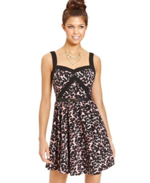 XOXO Juniors Dress, Sleeveless Printed Belted A-Line