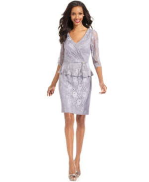 Patra Dress, Three-Quarter-Sleeve Lace Peplum Sheath