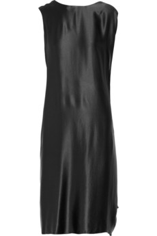 Draped silk-satin dress