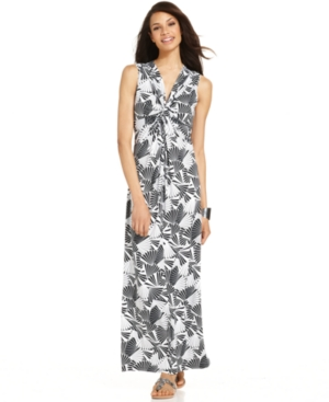 NY Collection Dress, Sleeveless Fan-Print Maxi