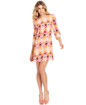 MM Couture Dress, Three-Quarter Boatneck Printed Shift