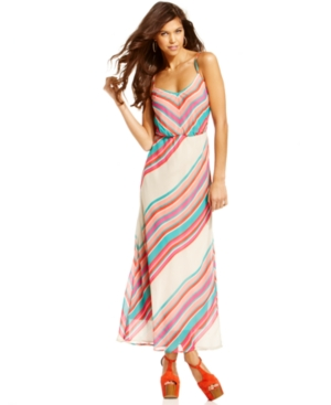 Urban Hearts Juniors Dress, Sleeveless Striped Maxi