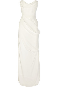 Corseted silk-georgette gown