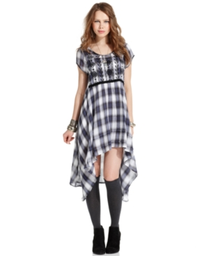 Free People Dress, Short-Sleeve Scoop-Neck Embroidered Plaid