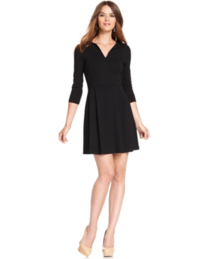 French Connection Dress, Three-Quarter Split-Neck A-Line