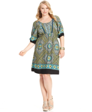 Style&co. Plus Size Dress, Short-Sleeve Printed Peasant A-Line