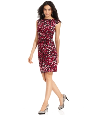 Evan Picone Dress, Cap-Sleeve Printed Knot A-Line