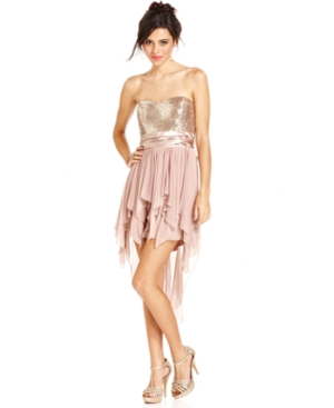 Trixxi Juniors Dress, Strapless Sequin Handkerchief