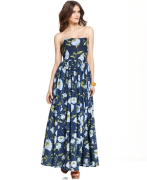 French Connection Dress, Strapless Straight-Neck Floral-Print Maxi
