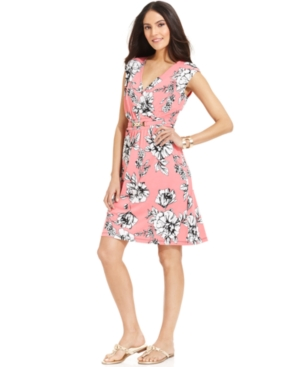 NY Collection Dress, Cap-Sleeve Floral-Print