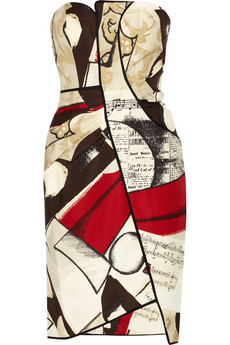 Printed silk-faille dress