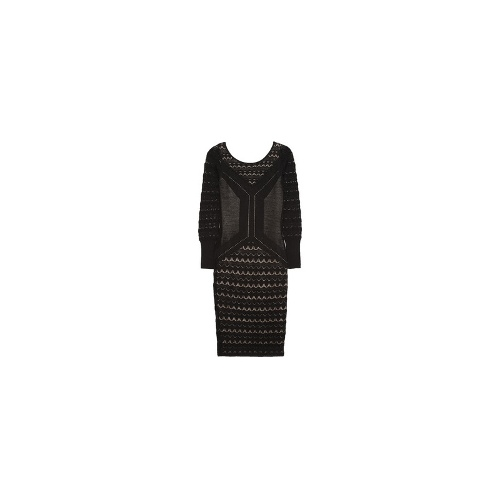 Judith crocheted and pointelle-knit wool dress