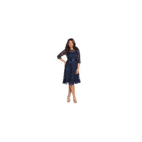 Jessica Howard Plus Size Dress, Three-Quarter-Sleeve Belted Lace A-Line