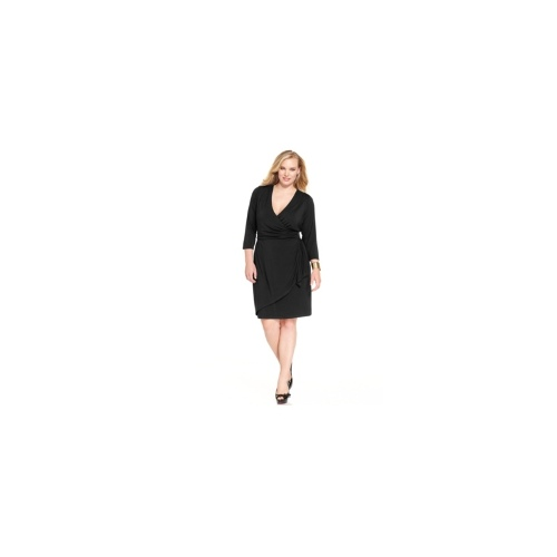 Spense Plus Size Dress, Three-Quarter-Sleeve Faux-Wrap