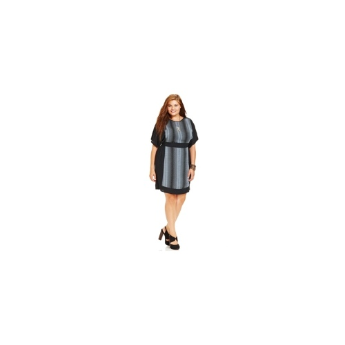 Angie Plus Size Dress, Short-Sleeve Printed Empire