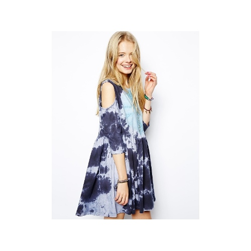 Smock Dress In Tie Dye With Cold Shoulder