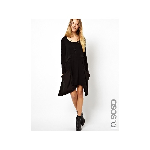 Swing Dress With Woven Drape Pocket And Long Sleeve
