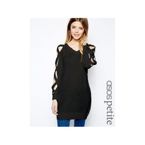 Exclusive Long Line Jumper With Exposed Cross Sleeves