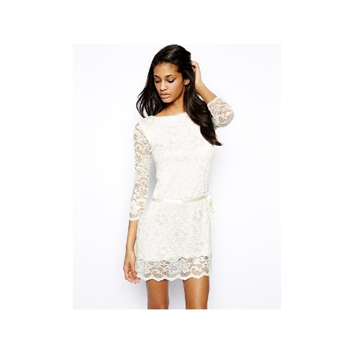 Lace Shift Dress With Tie Waist