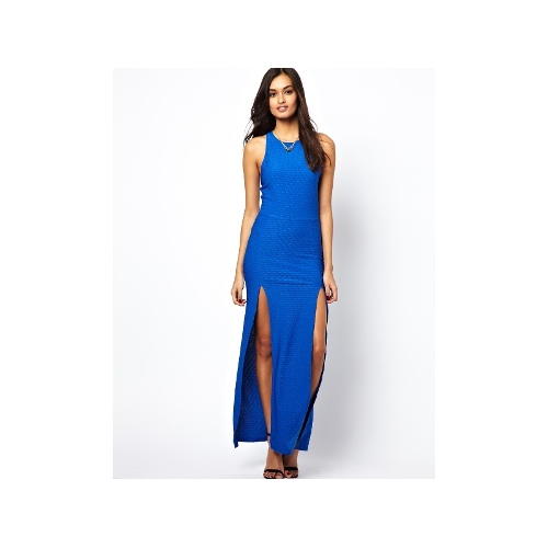 Textured Maxi Dress with Thigh Splits