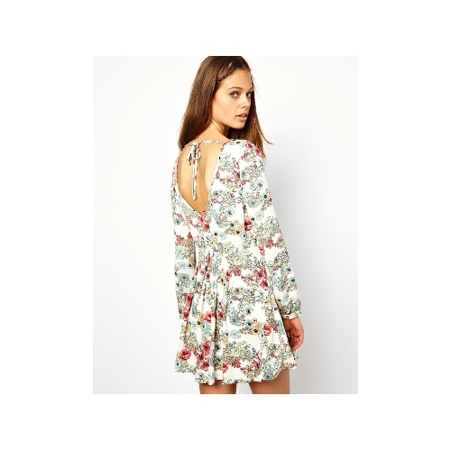 Floral Mini Dress With Open Back