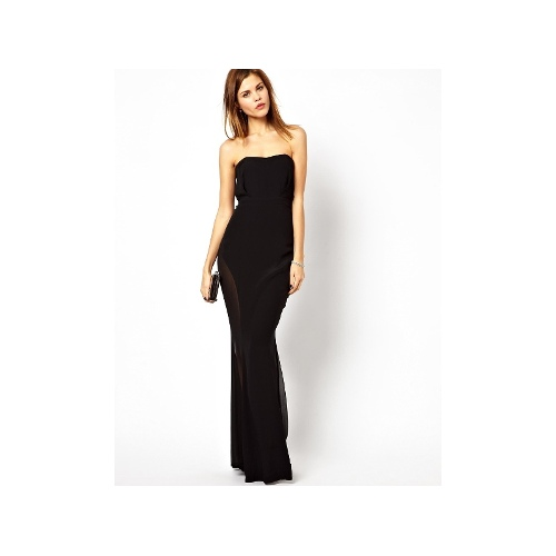 Bandeau Fishtail Maxi Dress with Mesh Insert