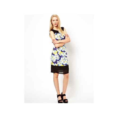 Sleeveless Fitted Silk Dress with Contrast Detail