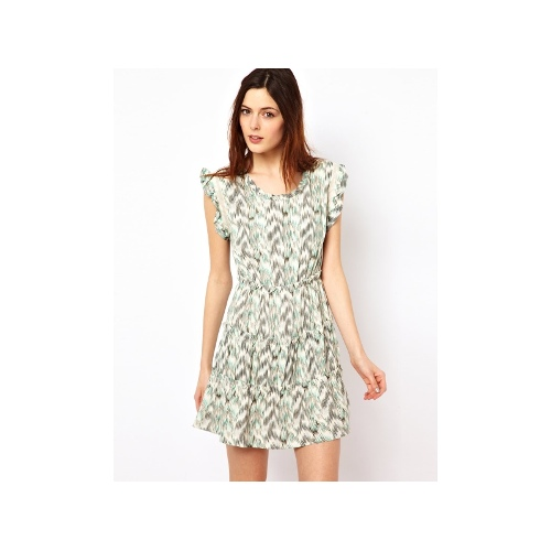 Short Sleeved Printed Dress with Mesh and Ruffle