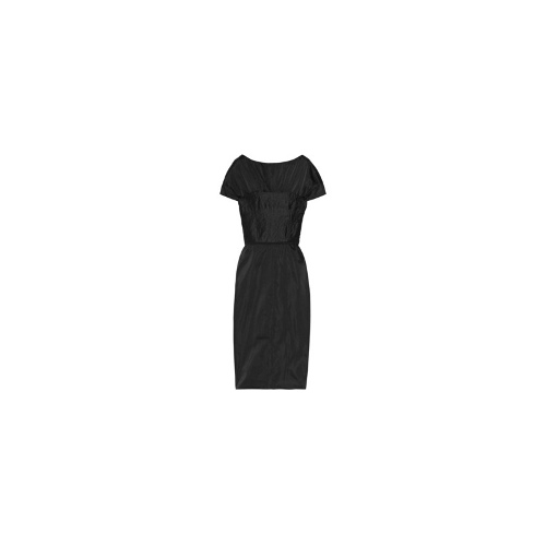 Ruched satin and crepe dress