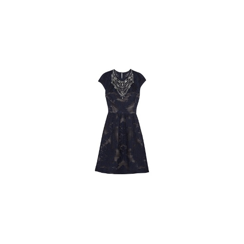 Embellished wool-blend jacquard dress