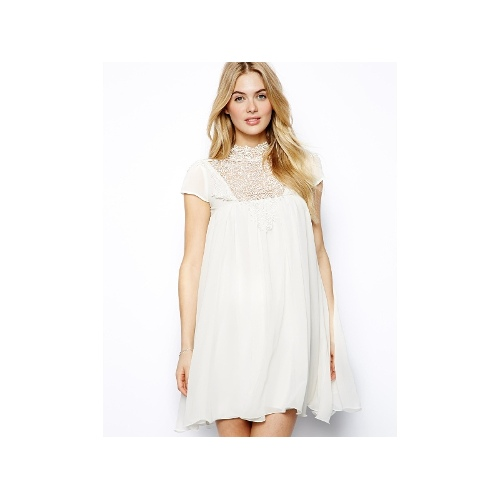 Cap Sleeve Swing Dress With Lace Neck