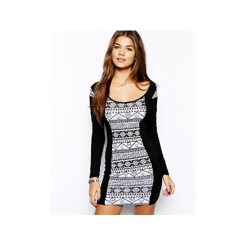 Shift Dress with Printed Panel