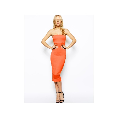 Strapless Midi Dress with Mesh Inserts