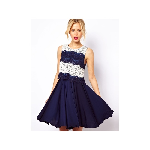 Skater Dress With Contrast Lace Panel