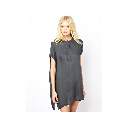 Woven Day Dress with Buttons