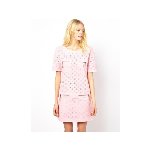 Shift Dress with Zip Pockets and Cut Work