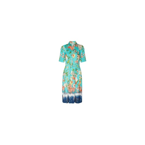 Foxglove floral-print washed-silk dress