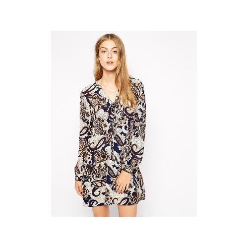 Printed Long Sleeve Short Dress