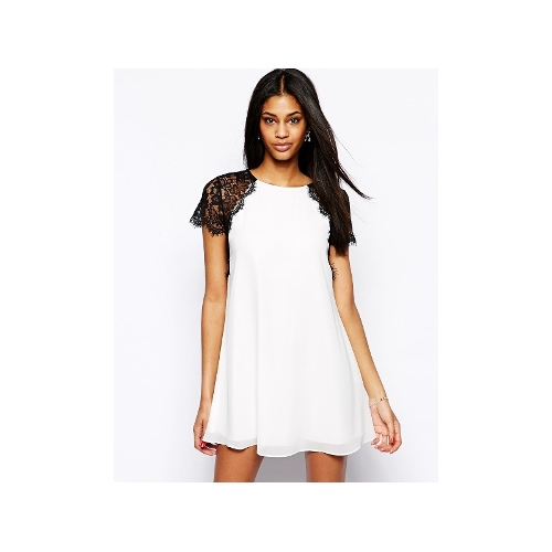 Swing Dress With Eyelash Lace Shoulders