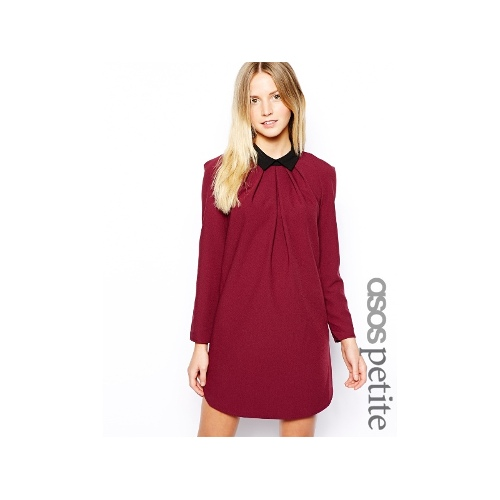 Exclusive Shift Dress with Pleat Detail Collar