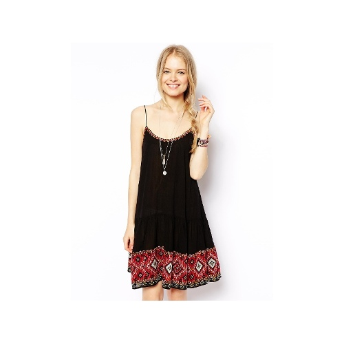 Swing Dress with Pretty Embroidered Hem